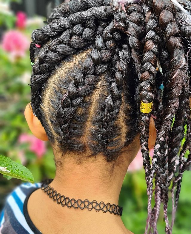Childrens feed-In stitch braids, two feed in braids, small feed in braids ponytail, 6 feed in braids with box braids