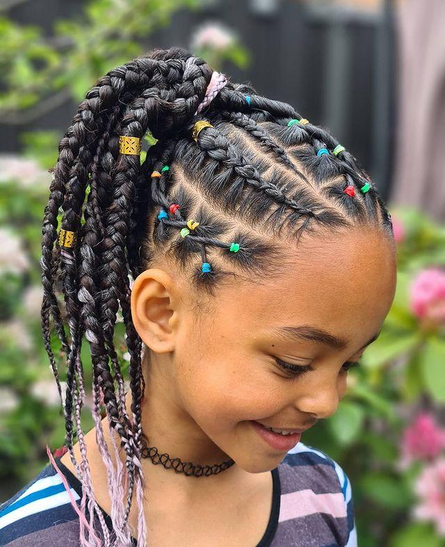 Kids feed-In stitch braids, two feed in braids, small feed in braids ponytail, 6 feed in braids with box braids