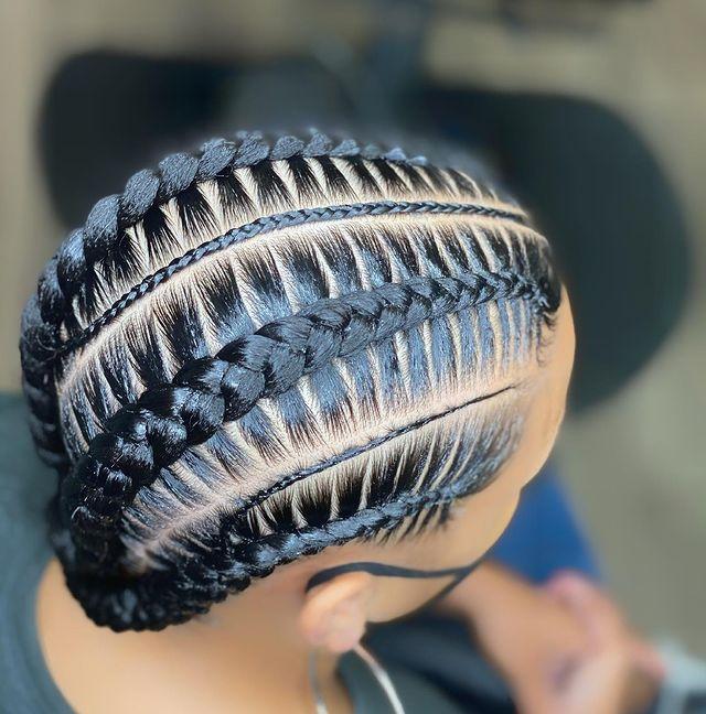 Tight feed-In stitch braids, two feed in braids, small feed in braids ponytail, 6 feed in braids with box braids