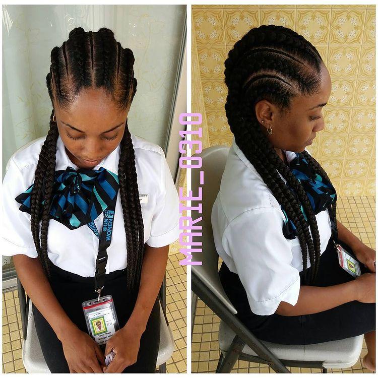 goddess braids two, box braids, short w/ ponytail, updos. how to do goddess braids. Draped over shoulder.