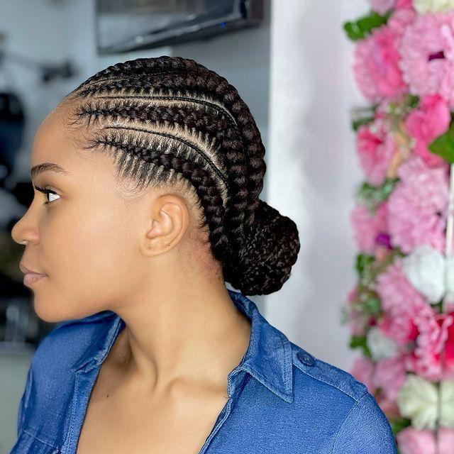 Bun feed-In stitch braids, two feed in braids, small feed in braids ponytail, 6 feed in braids with box braids
