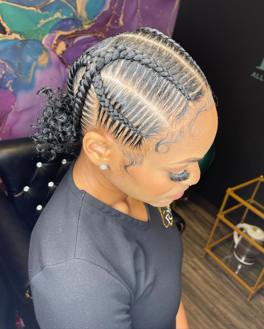 feed-In stitch braids, two feed in braids, small feed in braids ponytail, 6 feed in braids with box braids
