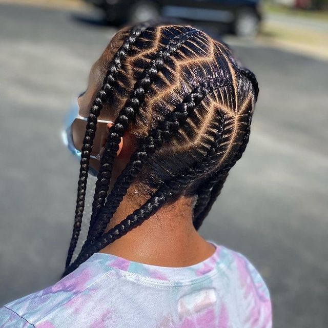 Neat and pretty feed-In stitch braids, two feed in braids, small feed in braids ponytail, 6 feed in braids with box braids