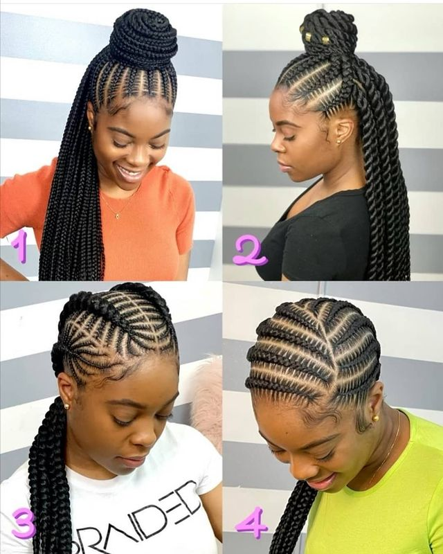 Collage feed-In stitch braids, two feed in braids, small feed in braids ponytail, 6 feed in braids with box braids