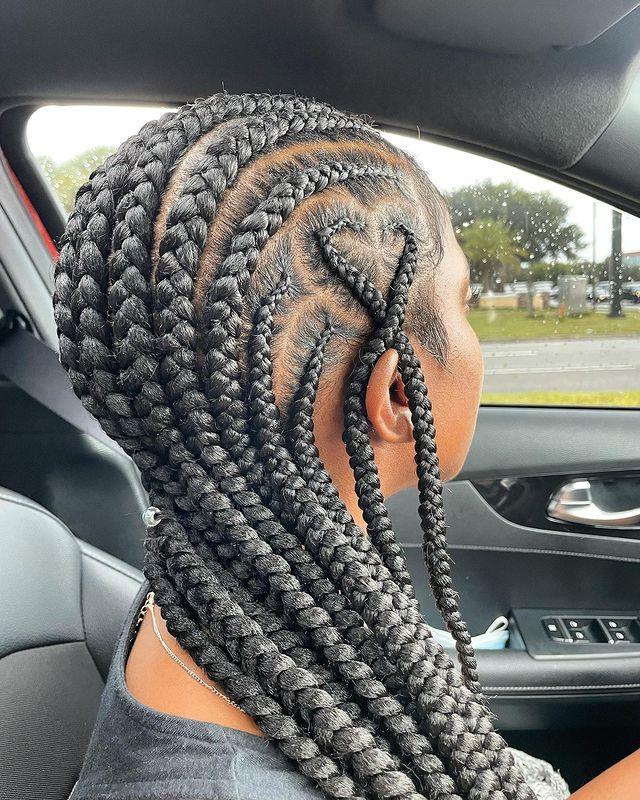 Dark feed-In stitch braids, two feed in braids, small feed in braids ponytail, 6 feed in braids with box braids