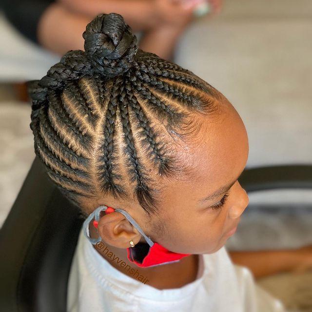 Cute feed-In stitch braids, two feed in braids, small feed in braids ponytail, 6 feed in braids with box braids