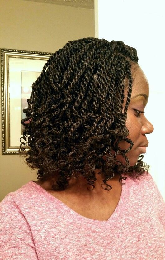 This is another short Senegalese twist hairstyle with cute curly ends, the curly ends are an option that you can ask your natural hairstylist for or do yourself...