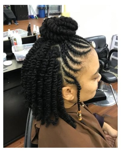 See more medium-length to long protective styles for natural hair braids.. Easy style for Black women and for kids in school. See how low maintenance your hair can...