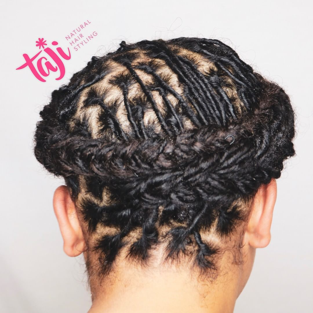 black hairstyle crown halo braid young locs