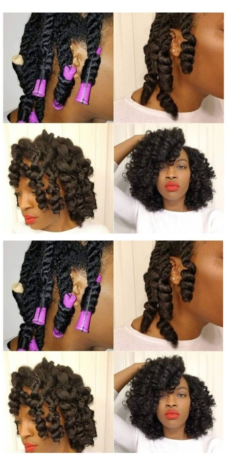 curly pretty cute perm rod set on natural hair hairstyles pictures Flexi rod curlers black