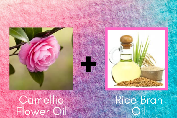 Hair growth oil for black women. camellia seed oil and rice bran oil.