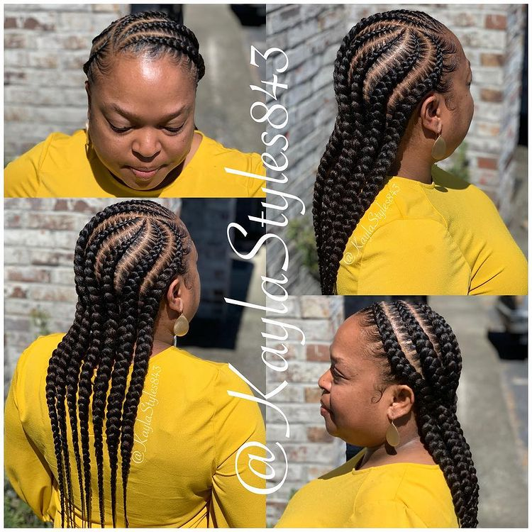 goddess braids two, box braids, short w/ ponytail, updos. how to do goddess braids. Yellow shirt.
