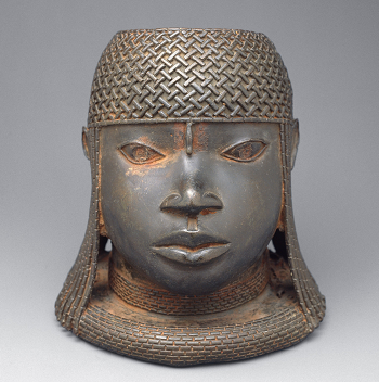 Bronze head, kingdom of Benin, Nigeria,  high, early 16th century. Oba and King. Metropolitan Museum of Art, New York.