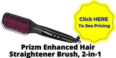 Prizm Enhanced Hair Straightener Brush, 2-in-1 Double Negative Ion Hot Comb NHP Approved
