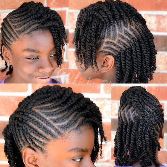 black braided hairstyles for girls kids. neat