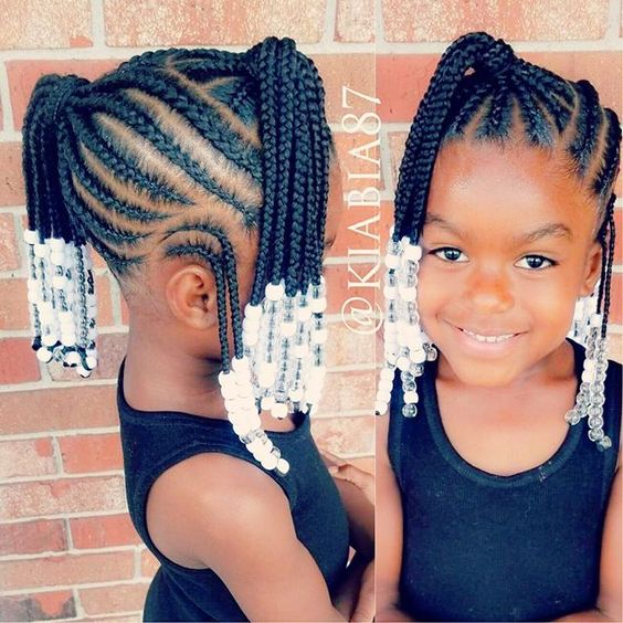 cute and neat black braid hairstyles for girls kids