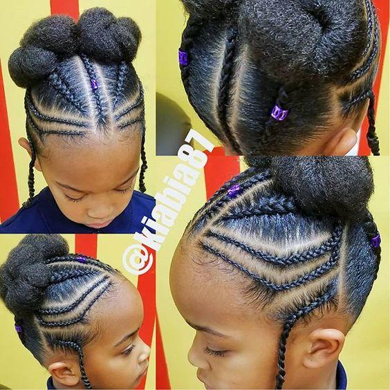 cute and neat black braid hairstyles for girls kids updo bun