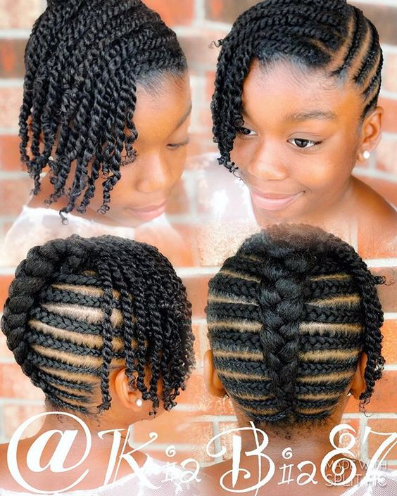 black braided hairstyles for girls kids bangs