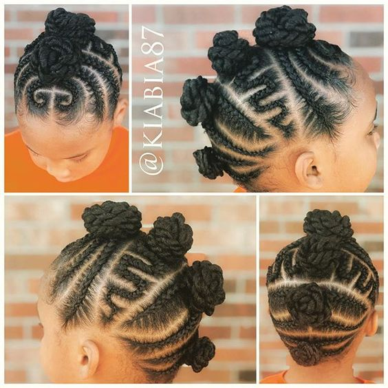 mohawk bun - black braided hairstyles for girls kids.