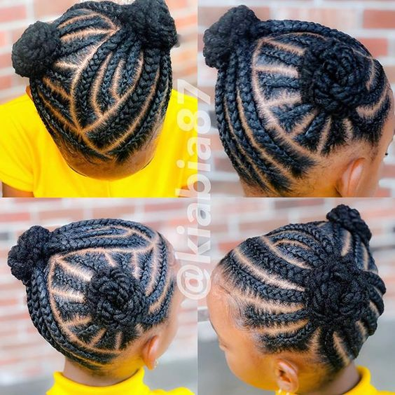 black braided hairstyles for girls kids double bun