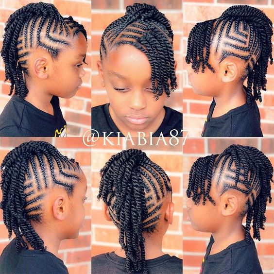 cute and neat black braid hairstyles for girls kids.