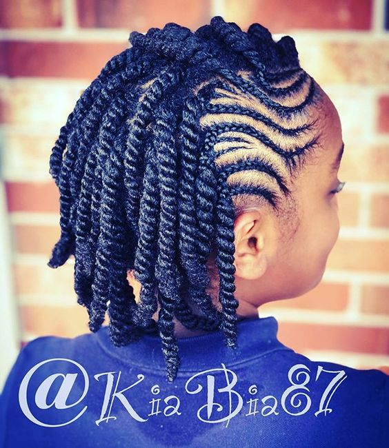 Braid Hairstyles for Black women. See more medium-length braid hairstyles for black women to long protective styles for natural hair braids.. Easy style for Black women and for kids in school.