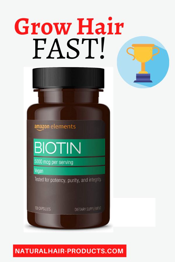 Hair Growth Vitamins - Amazon Elements Vegan Biotin 5000 mcg