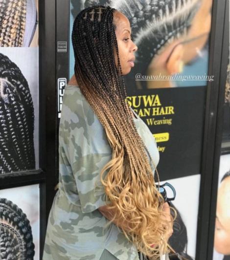 Lemonade braids knotless Goddess braids. dark skin beautiful black woman.