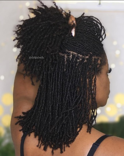 Cute long sisterlocks on pretty black woman. sisterlocs.