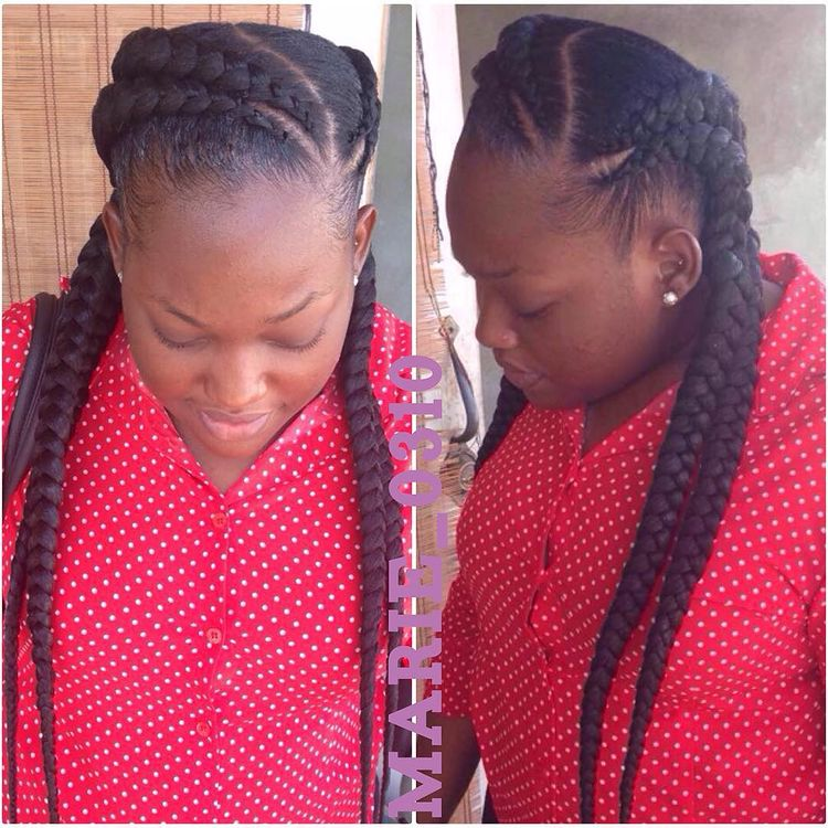 goddess braids small feed in braids ponytail, 6 feed in braids with box braids