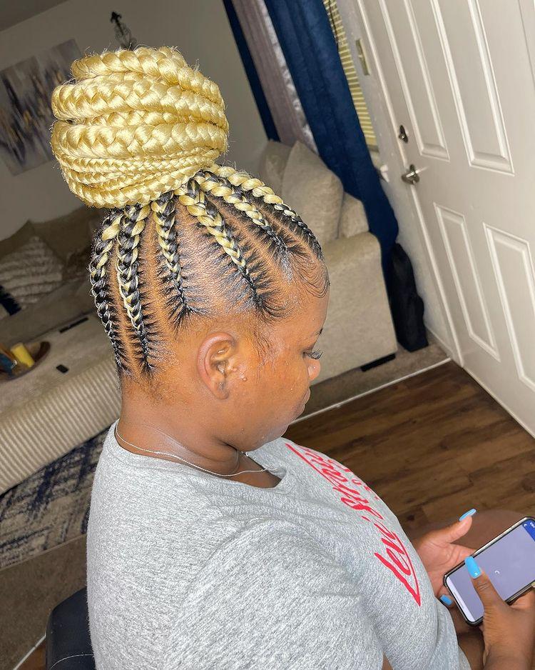 goddess braids two, box braids, short w/ ponytail, updos. how to do goddess braids. jumbo feed in braids ponytail, 6 feed in braids with box braids