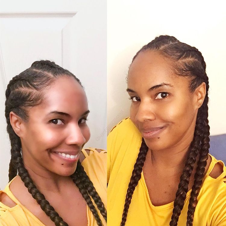 goddess braids 4 ponytails  NHP