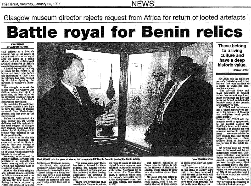 Benin Relics looted by British - newspaper clip