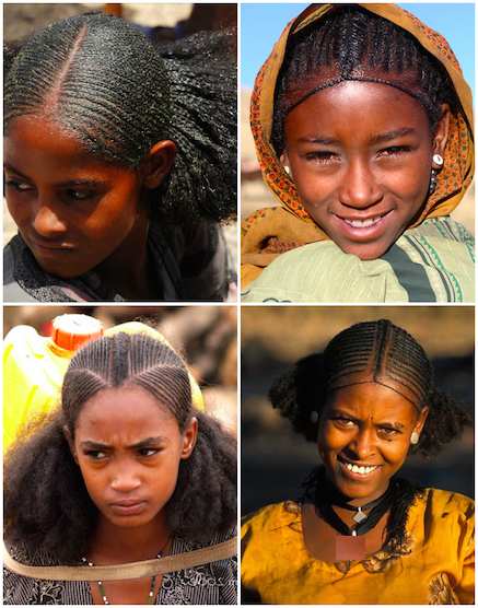 African girls from the Amhara Region, one of the nine ethnic divisions of Ethiopia.