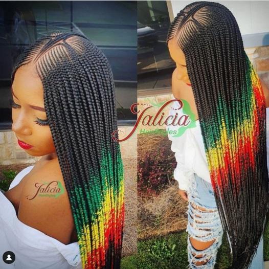 Cute Lemonade Braids hairstyle on pretty black woman. Lemonade Braids, good hair.