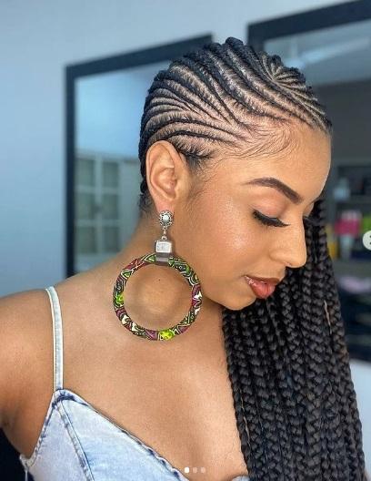 Lemonade braids style on pretty Black woman...