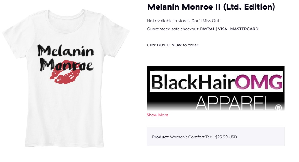 Melanin monroe kiss lips 2 black girl magic shirt - BlackHairOMG melanin t-shirts (white)